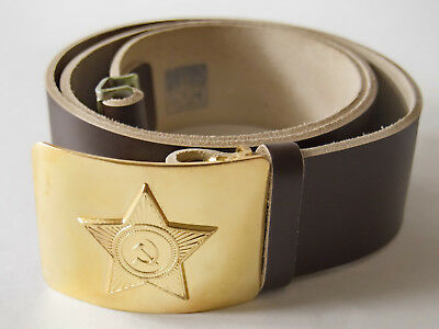 New Brown Soviet Army Military Leather Soldier Belt (110 cm) ☆ USSR Star Buckle