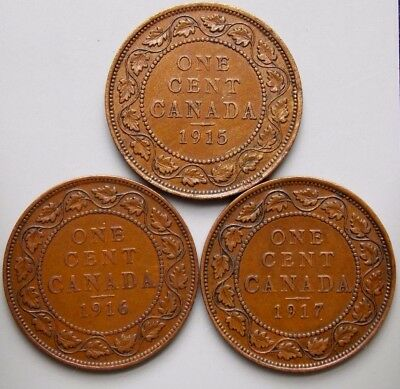 1915 1916 1917 Canada Canadian Large 1 Cent Coins King George V Lot Of 3