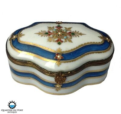 18th Century French Antique Jewelled Gilt Painted Porcelain Box Attrib. Sevres