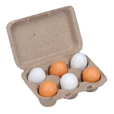 6x/Set Wooden Eggs Yolk Pretend Play Kitchen Food Cooking Kid Toy Xmas Gift E5R4