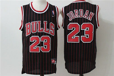 NEW Chicago Bulls #23 Michael Jordan Retro Basketball Jersey Black/Red stripes