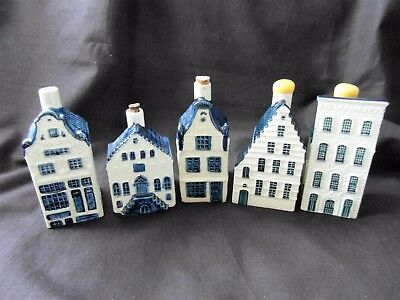 5 KLM Bols Miniature Delft Houses---4--12--27--44 and ??--2 Sealed WITH Contents