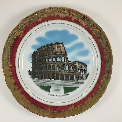 Colosseum Rome Italy Porcelain Plate w// Display Stand