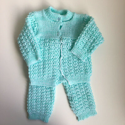 Hand Knit Baby GIrl Sweater and Pants 2 Piece Outfit 0-3 Months Newborn