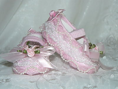 Victorian Crib Shoes Pink/white Pearl/organza 4 Reborn/ Baby   Size 0 & Size00