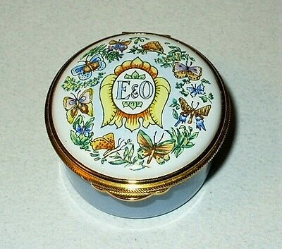 English Enamel Box- Eastern & Orient Express -Trains- Tiger & Butterfly & Flower
