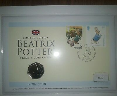 Beatrix Potter peter rabbit 50p coin and stamp promo no 30 of 995 very very rare