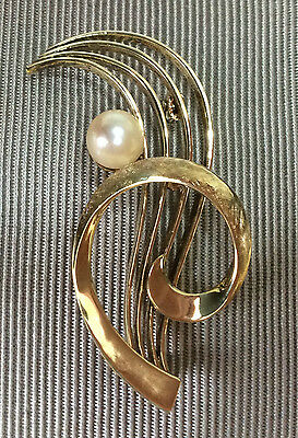 VINTAGE 14K (585) YELLOW GOLD CULTURED 6.5mm PEARL BROOCH 6.34grms (not scrap)
