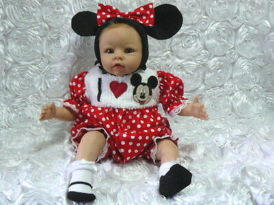 Romper Reborn Baby Red Polka Dot I Luv Mickey   Size 0-3 Month