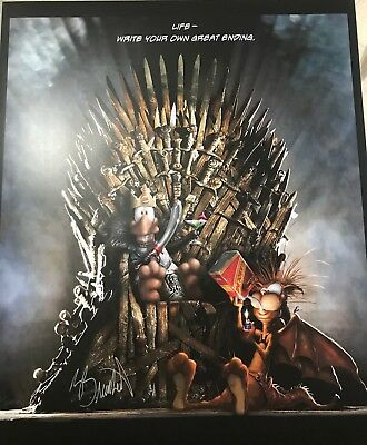 Signed Berkeley Breathed's Game Of Thrones Poster Bloom County Opus Bill The Cat
