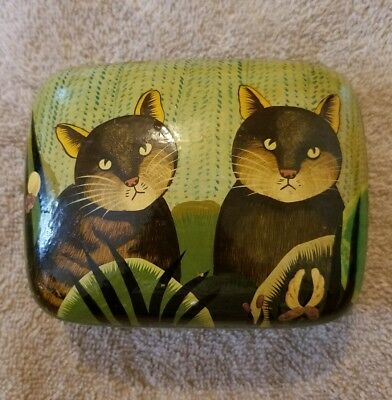 Vintage Kashmir India Black Lacquer Trinket Box Hand Painted 2 Cats