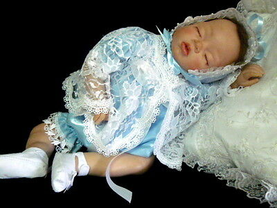 Blue Satin Romper White Lace Jacket Bonnet  For Reborn Or Baby  Size 0-3 Mth