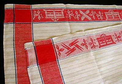 rare old beige linen German Mangle Cloth or runner with bright red border around