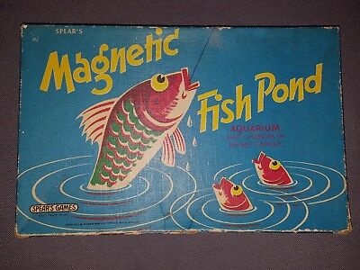 Vintage magnetic fish pond board game 1950s 60s spear 39 s for Koi pond game online