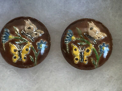 Two Vintage Reverse Intaglio Glass Buttons with Butterflies & Flowers 18mm
