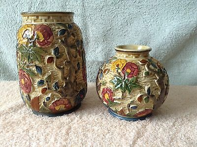 Indian Tree Pottery Vases x 2