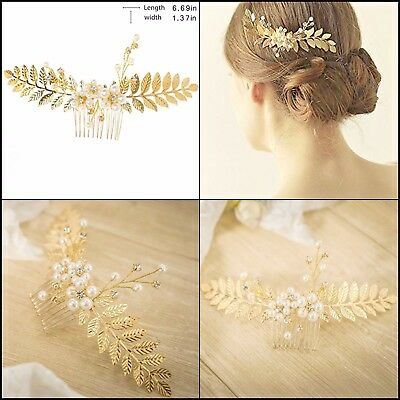 Hair Comb gold Leaf for Bride,Wedding,Hair Clips&Accessories for Bridesmaid&more