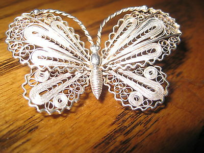 BROOCH Vintage Sterling Silver 925 Intricate Filigree Butterfly  Pin 2 X 1 1/4 ""