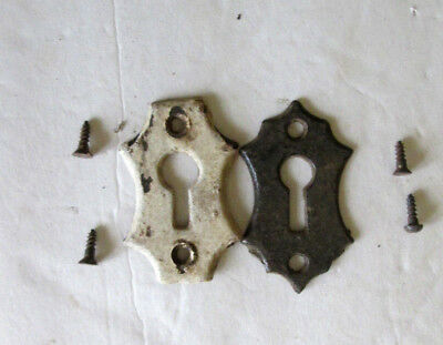 Antique Key Holes  Architectural Salvage  Metal with Mounting Screws  Lot of 2