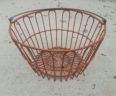Vintage Wire Gathering  Egg Red Shabby Rusty Basket Old Ohio Farm Country