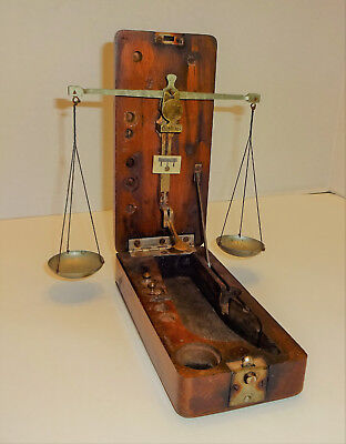 1850s ANTIQUE SCALE MAHOGANY CASE BOX DIAMOND GOLD RUSH APOTHECARY CIVIL WAR N/R