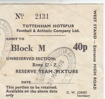 Ticket - Tottenham Hotspur Reserves v Leicester City Reserves 29.03.78