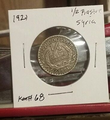 Very nice VF SYRIA - 1/2 PIASTRE 1921 KM # 68 NICE COIN Look & bid buy it now!!!