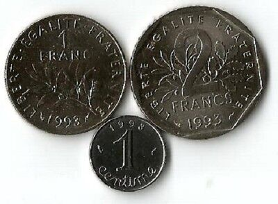 1993 ,1 centime, 1 franc et 2 Francs.Neuves.