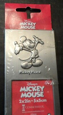 Picture Frame Disney Mickey Mouse Pewter Silver 2 x 2  Photo Easel Back NIP