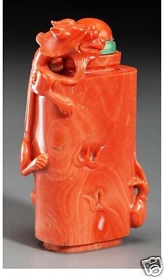 Antique Chinese red coral Chilong with Flaming Pearl snuff bottle,19th Century