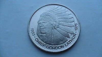 Chief Gordon Lathlin Cree Red River Indian Dollar 1978 Winnipeg Canada
