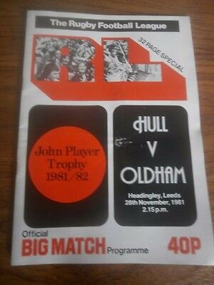 1981-82 J P Trophy semi final Programme Hull FC v Oldham Rugby League