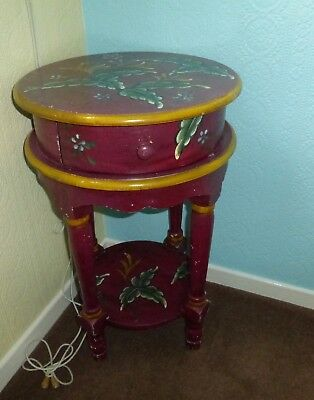 Table small round antique painted effect with drawer