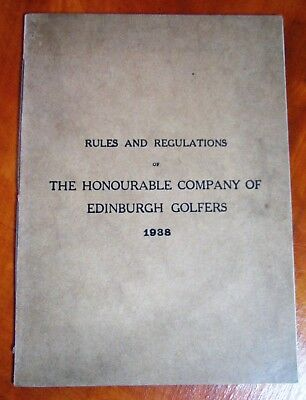 ~Rare 1938 Rules And Regulations Of The Honourable Company Of Edinburgh Golfers