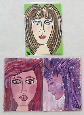 ACEO Lot of Three Women Faces Big Eyes Original Signed Painting ERICAJAYE Art