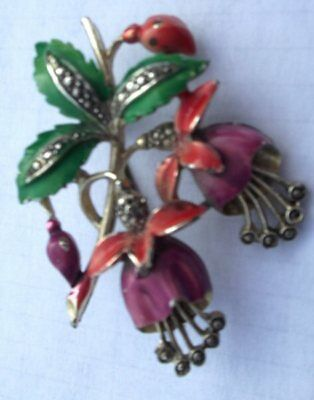 Vintage Signed Enamel & Marcasite Exquisite Fuchsia Brooch Birthday Month Series