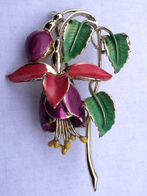 Vintage Signed Enamel Exquisite Single Fuchsia Brooch Birthday Month Series