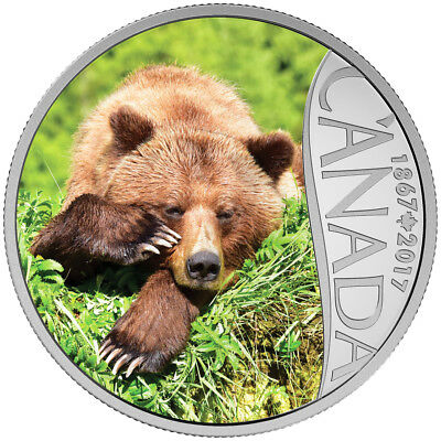 2017 $10 Fine Silver Coin Celebrating Canada's 150Th: Grizzly Bear