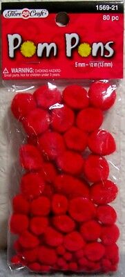 """Package of 80 Pieces: Assorted Sizes 5mm to 1/2""""(13mm) - Red Pom Poms for Crafts"""