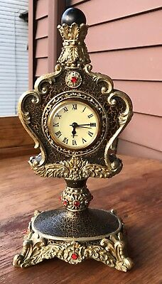 Ornate  RED RUBY Jeweled Quartz Clock LARGE HEAVY VINTAGE SHELF MANTEL