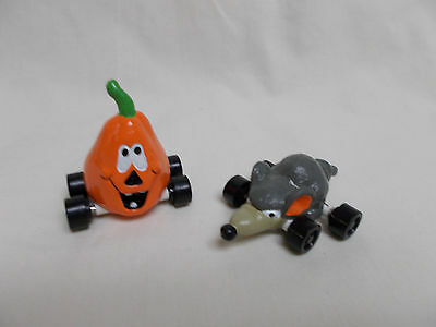 1989 Applause Pumpkin Jack-O-Lantern and Rat on Wheels Halloween toys-unused
