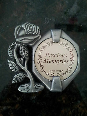 vintage rare AMC Precious memories made in USA small pewter picture frame rose