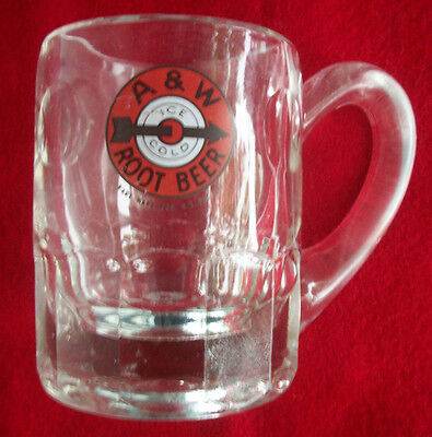 "Vintage A&W Root Beer Mug 4-1/4"" Restaurant Orange Bullseye Arrow / Ice Cold"