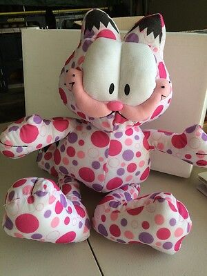 ADORABLE  POLKA DOT GARFIELD PLUSH - PINK AND PURPLE - RARE Odie's Friend
