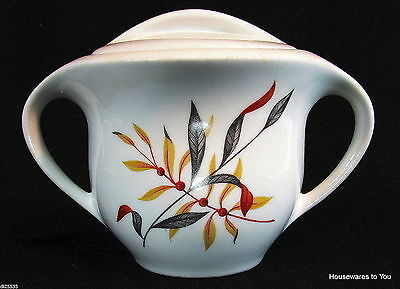 Iroquois China Woodvine Covered Sugar Bowl w Lid Gold Rust Gray Mid Century