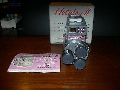 VINTAGE MANSFIELD HLOIDAY II  8mm   TURRET CAMERA WITH BOX.