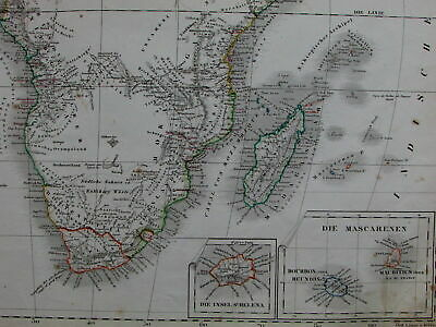 Africa Capeland Canary Mascarene Islands St. Helena Kong Mts. 1856 old Stein map