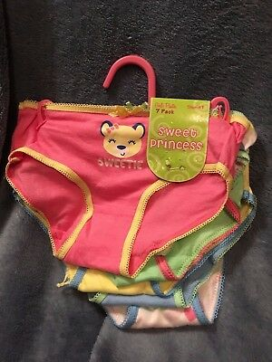 Sweet Princess Girl's Panties 7 pack NWT size 4T assorted patterns pastel colors