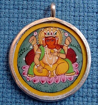 Antique Engraved Hindu God Ganesha Elephant God Silver Necklace Pendant Jewelry
