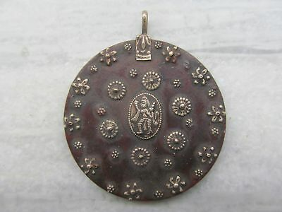 Silver Necklace Pendant Engraved Indian Monkey God Hanuman & Floral Design Art